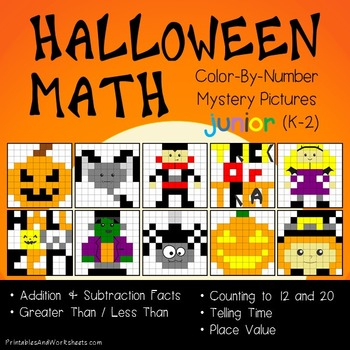 Math Halloween Activities, Halloween Sub Plan Mystery Picture Worksheets