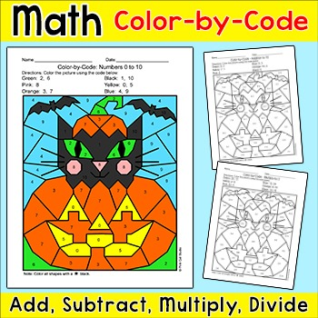 Halloween Math Color by Number Activity Cat in Jack \'o Lantern | TpT