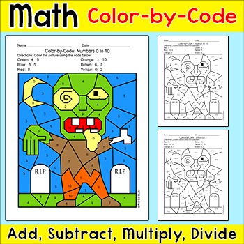 Halloween Math Center Color by Number Differentiated Activity - Zombie