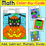 Halloween Math Color by Number: Addition, Subtraction, Multiplication, Division