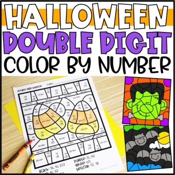 Halloween Math Color by Code Pictures: Double Digit Addition & Subtraction
