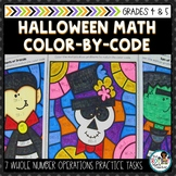 Halloween Math Color by the Code   Whole Number Operations