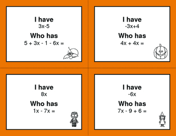 Halloween Math: Combining Like Terms - I Have, Who Has