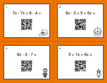 Halloween Math: Combining Like Terms QR Code Task Cards