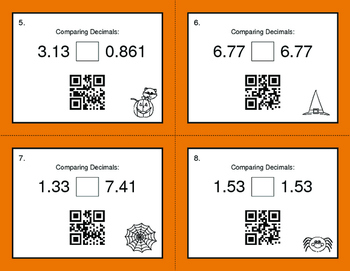 Halloween Math: Comparing Decimals QR Code Task Cards