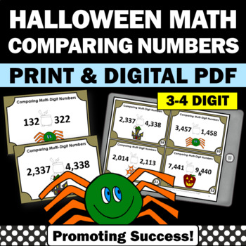 2nd Grade Halloween Math Activities, Comparing Numbers Task Cards, SCOOT