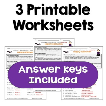 Halloween Comparing & Ordering Decimals Worksheets (3 Levels)