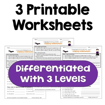 halloween math comparing and ordering decimals worksheets  halloween math comparing and ordering decimals worksheets differentiated