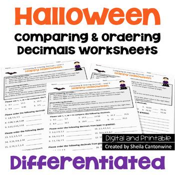 Halloween Comparing & Ordering Decimals Worksheets (3 Levels)