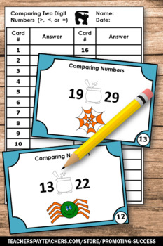 Halloween Math Centers, Comparing Numbers Greater Than Less Than Task Cards