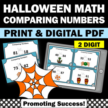 Halloween Math Task Cards, Comparing Numbers Greater Than Less Than