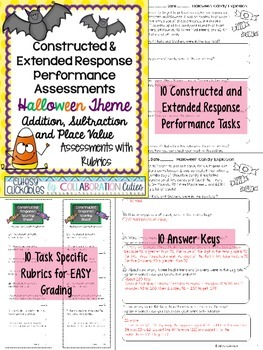 Halloween Math Constructed & Extended Response Problem Solving {Add & Subtract}