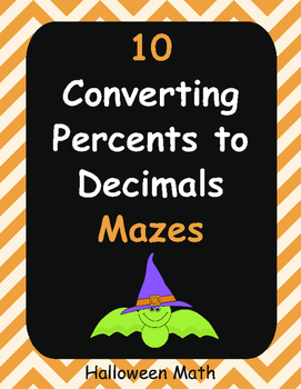 Halloween Math: Converting Percents to Decimals Maze
