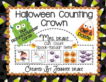 Halloween Math  Counting Crowns 1-5  PLUS Number and Picture Cards!