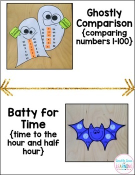 Halloween Math Craftivities for First Grade { Equations, Time, Comparison}
