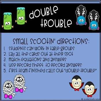 Halloween Math DOUBLE TROUBLE addition group scoot