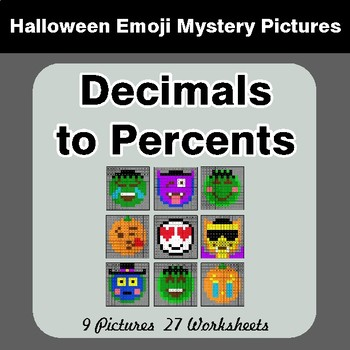 Halloween Math: Decimals to Percents - Color-By-Number Math Mystery Pictures