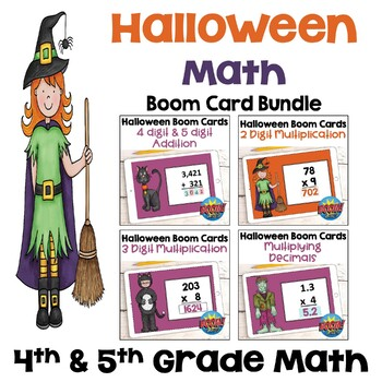Halloween Math Digital Task Cards for 4th and 5th Grades - BOOM Cards