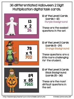 Halloween Math Digital Task Cards for 4th and 5th Grades - BOOM Card BUNDLE