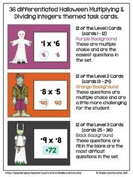 Halloween Math Digital Task Cards for 6th and 7th Grades - BOOM Cards
