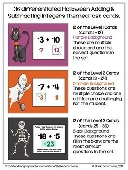 Halloween Math Digital Task Cards for 6th and 7th Grades - BOOM Card BUNDLE