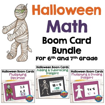 Halloween Math BOOM Card BUNDLE for 6th and 7th Grades