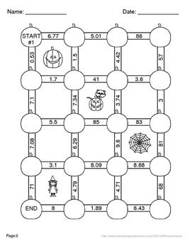Halloween Math: Dividing Decimals Maze