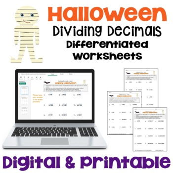 Halloween Dividing Decimals Worksheets (Differentiated with 3 Levels)