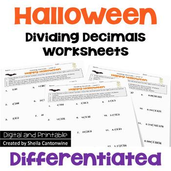 Halloween Math Dividing Decimals Worksheets (Differentiated)