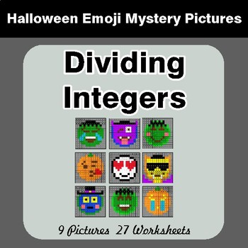 Halloween Math: Dividing Integers - Color-By-Number Math Mystery Pictures