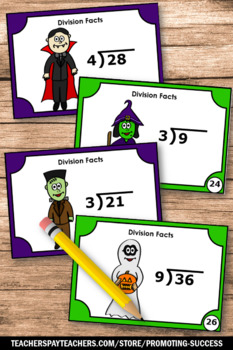 Halloween Math Games & Activities 3rd 4th Grade Division Task Cards