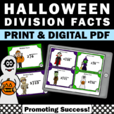 3rd Grade Halloween Math Activities, Division Facts Task Cards SCOOT