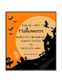 Halloween Math & ELA Worksheets, Games & Puzzles - 1st & 2