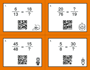 Halloween Math: Equivalent Fractions QR Code Task Cards