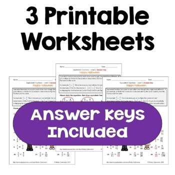 Halloween Equivalent Fractions Worksheets (Differentiated with 3 Levels)