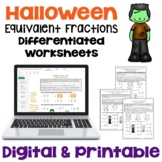 Halloween Math Equivalent Fractions Worksheets (Differentiated)