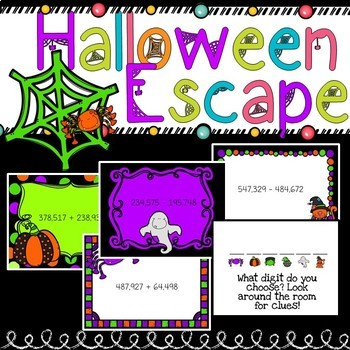 Halloween Math Activity/Escape Room/ Challenge or review for grades 3 & 4