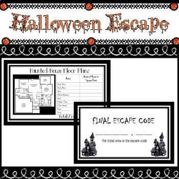 Halloween Math Game Escape Room Activity for Upper Elementary or Middle School