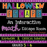 Halloween Math Game Escape Room Activity for Upper Element