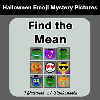 Halloween Math: Find the Mean (Average) - Color-By-Number Math Mystery Pictures