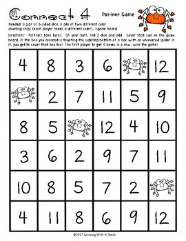Halloween Math Fluency with a Twist ~ CONNECT 4 Addition ~ 20 Game Boards