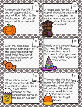 Halloween Fractions Adding Fractions Math Task Cards