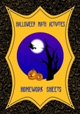 Halloween Math Fractions Homework Sheets 4th 5th