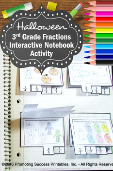 3rd Grade Fractions Interactive Notebook, Halloween Math Activities