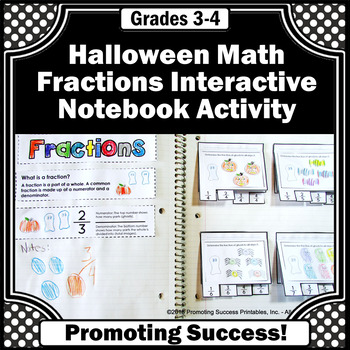 Halloween Fractions Interactive Notebook for Halloween Math Centers