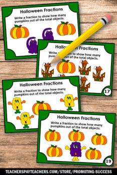 Halloween Math Centers, Halloween Fractions Task Cards, 3rd Grade SCOOT