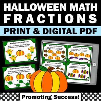 Halloween Fractions Task Cards, 3rd Grade Math Centers SCOOT