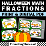 3rd Grade Halloween Math Center Activities with Pictorial Fractions Task Cards