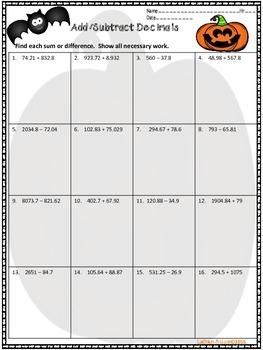 Halloween Math:  Fractions and Decimals