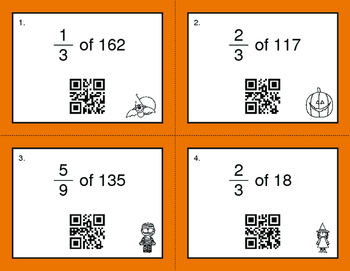 Halloween Math: Fractions of a Set QR Code Task Cards